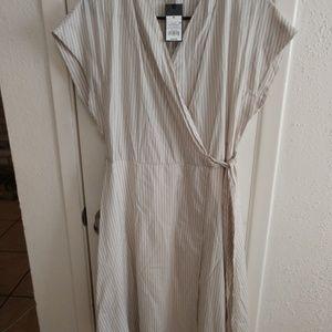 Mossimo Tan and White Stripe Wrap Dress